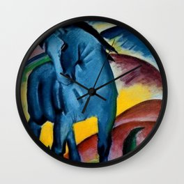 Colorful Blue Horse Friesian portrait horses painting by Franz Marc Wall Clock