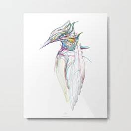 Kingfisher-1. Color lines on white background-(Red eyes series) Metal Print