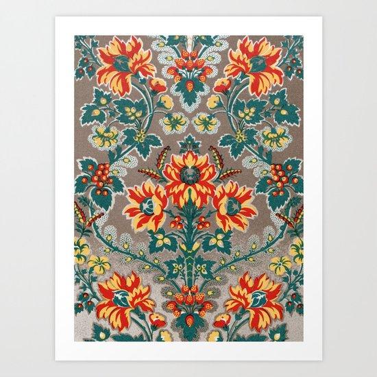 Vintage Floral Pattern 18th Century Decorative Ornate Fancy Art Print