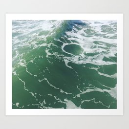 Sea Foam Green Ocean Wave Photograph Art Print