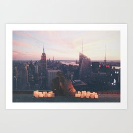 new york city skyline and couple-romance on the rooftop Art Print