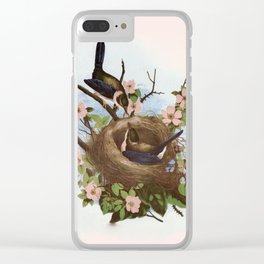 Vintage Birds with Nest Pink Clear iPhone Case