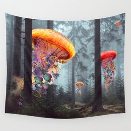 ElectricJellyfish Worlds in a Forest Wandbehang