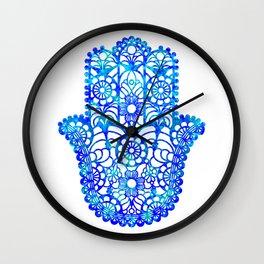 Blue Watercolor Hamsa Wall Clock