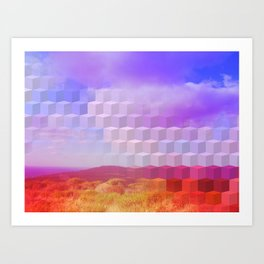 Ultra Surreal Countryside Violet Rainbow Art Print