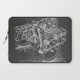 1918 C. J. Gustafson Motorcycle with Side Car Black Patent Version Laptop Sleeve