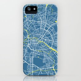 Berlin Map | Germany | Blue & Yellow | More Colors, Review My Collections iPhone Case