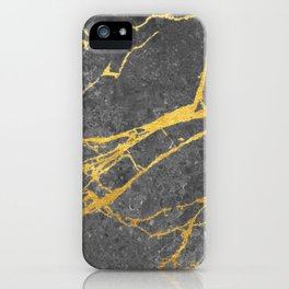 Matte black marble with gold iPhone Case
