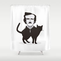 edgar allan poe Shower Curtains featuring Edgar Allan Poe  by Beitebe