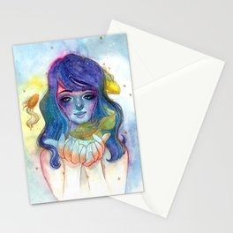 Watercolor illustration of a fairy with goldfish. Stationery Cards