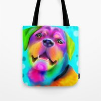 rottweiler Tote Bags featuring Funky Rottweiler by Sally Rowland Art