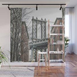 Manhattan bridge from DUMBO, Brooklyn, New York city, Washington Street, Williamsburg photography Wall Mural