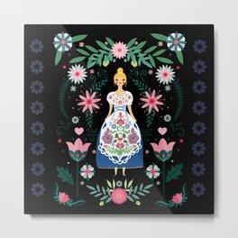 Folk Art Forest Fairy Tale Fraulein Metal Print