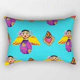 Angels and Hearts Turquoise Rectangular Pillow