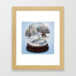 Blue Christmas Globe Framed Art Print