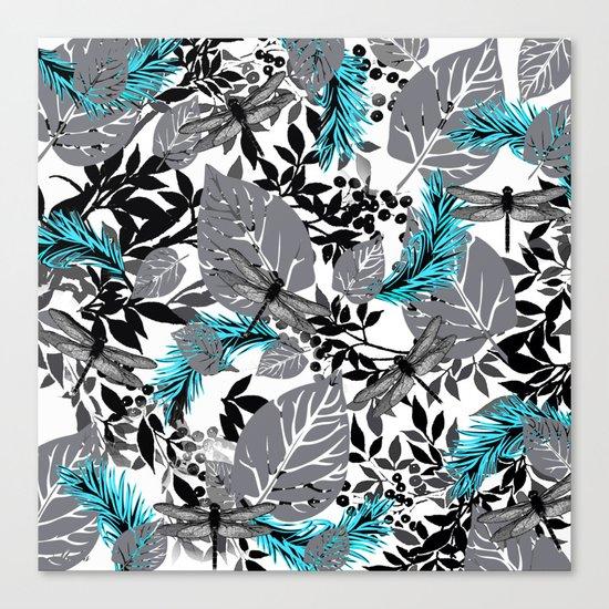 PALM LEAF DRAGONFLY BLUE FERN TOILE Canvas Print