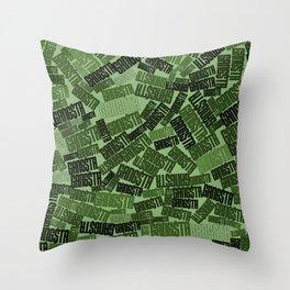 GANGSTA jungle camo / Green camouflage pattern with GANGSTA slogan Throw Pillow