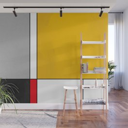 Mid century Modern yellow gray black red Wall Mural