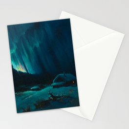 Northern Lights - Aurora Borealis Snowy Night Winter Scene by Sydney Lawrence Stationery Cards