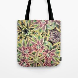 Green and Pink Succulent Tote Bag