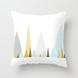 Geometric triangles in mustard and mint Throw Pillow