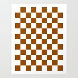 Checkered - White and Brown Art Print