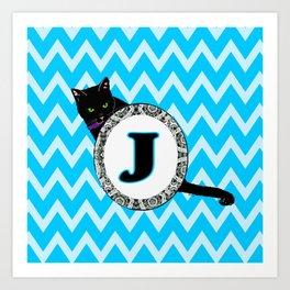 Letter J Cat Monogram Art Print
