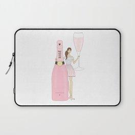 Rose Champagne Fashion Girl Brown Hair Laptop Sleeve