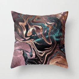 Metallic Rose Gold Marble Swirl Throw Pillow
