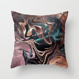 Metallic Rose Gold Marble Swirl Throw Pillow