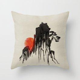 Japanese Mountain sunset - sumi-e Throw Pillow
