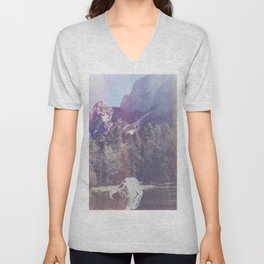 Faded Mountainside Unisex V-Neck