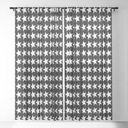 Black White Stars Pattern Sheer Curtain