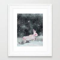 rabbit Framed Art Prints featuring White Rabbit by Ben Geiger
