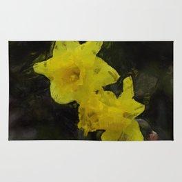 Yellow Daffodils Impressionist Painting Rug