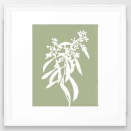 Acacia in Sage Green - Original Floral Botanical Papercut Design Framed Art Print