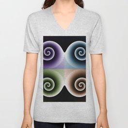 Orange Blue Purple Green Spiral Abstract Art Unisex V-Neck