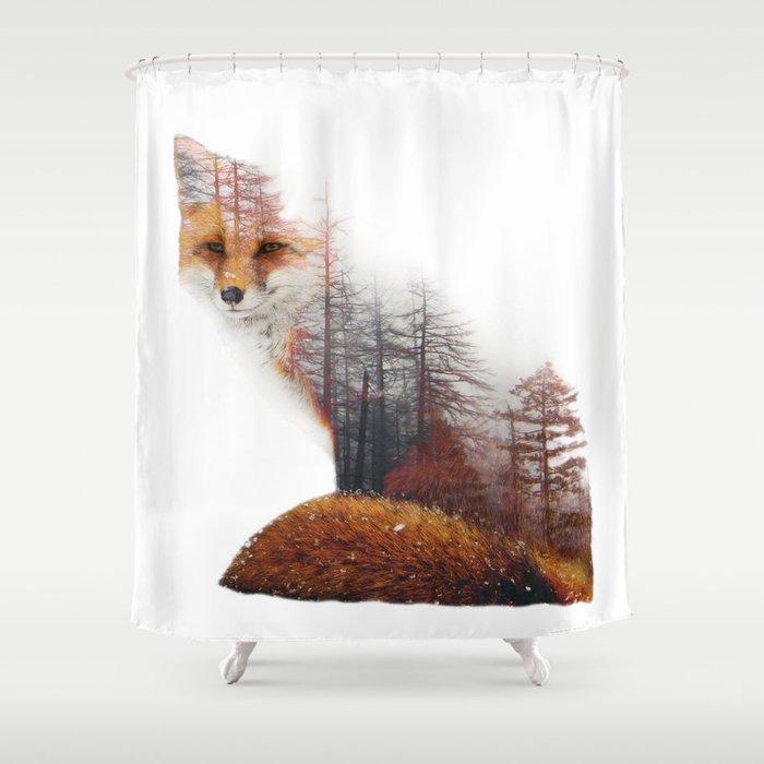 Misty Fox Shower Curtain By Yazdesigns