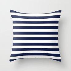 Stripe Horizontal Navy Blue Throw Pillow