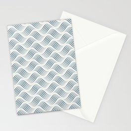 Dark Blue Wavy Tessellation Line Pattern on Off White - 2020 Color of the Year Chinese Porcelain Stationery Cards