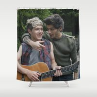 niall horan Shower Curtains featuring Niall Horan x Zayn Malik by behindthenoise