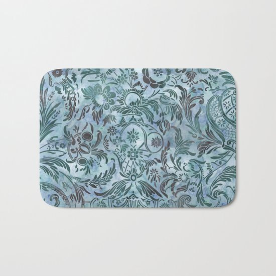 Watercolor Damask Pattern 08 Bath Mat