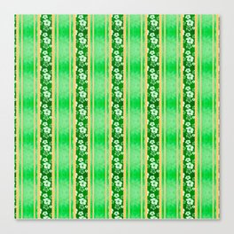 Green Hibiscus Honu Stripes Canvas Print