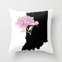 indiana Throw Pillows featuring Indiana Silhouette by Ursula Rodgers