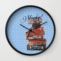 voyage Wall Clocks featuring VOYAGE! by Ylenia Pizzetti