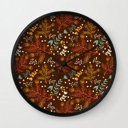 Elegant fall orange yellow teal brown floral polka dots Wall Clock