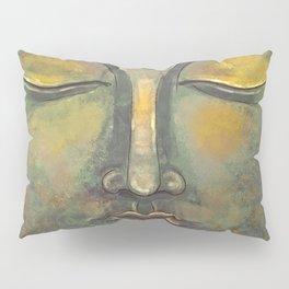 Rusty Golden Buddha Face - Zen and Balance Watercolor Painting Pillow Sham
