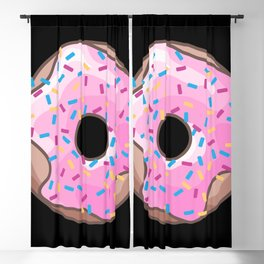 Pink Donut on Black Blackout Curtain