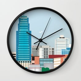 Jersey City, New Jersey - Skyline Illustration by Loose Petals Wall Clock