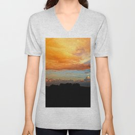 Sunset clouds Silhouette Bush Skyscape Unisex V-Neck